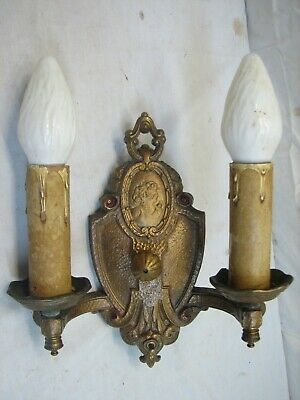 Cast Brass Ornate Victorian Candle Electric Wall Sconce Light Fixture