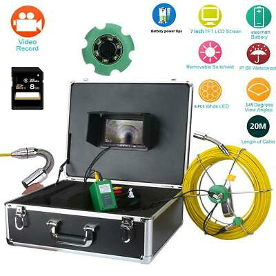 """7""""LCD 20M Drain Pipe Sewer Inspection 8GB SD 6W LED DVR Recorder Video Camera"""