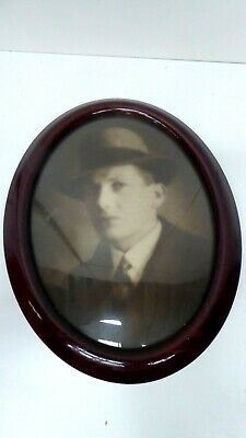 Oval Wooden Lacquer Convex Dome Glass Picture Frame Edwardian Deco Portrait Man