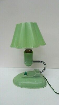 Antique Art Deco Green Speckled Bakelite Lamp Chrome Arm Wall Light Nta 809