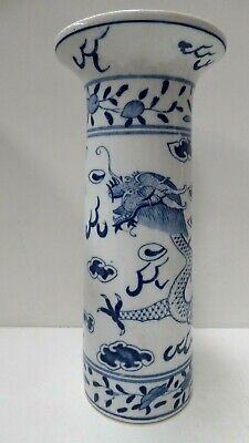 Antique Chinese Pottery Blue & White Hand Painted Dragon Vase Signed To Base