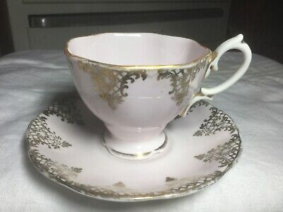 Royal Albert Crown China Cup/Saucer  Engalnd.   Pink/Gold Swags