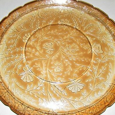 "JEANNETTE LOUISA or FLORAGOLD CARNIVAL GLASS TRAY 13.75"" ROUND PLATTER MARIGOLD"