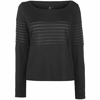 Reebok Mesh Long Sleeve T-Shirt Womens Black Top Tee Shirt Athleisure Activewear