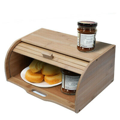 Large Wood Bread Box 2 Loaf Storage Roll Top Kitchen Food Container Bin