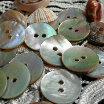 100PCS Natural Mother of Pearl Round Shell 2 Holes Sewing Buttons 10mm 3-o