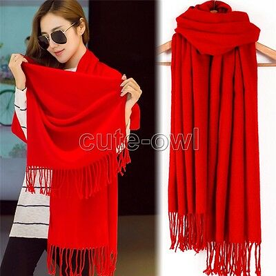 Womens Girl Candy Color long soft Silk scarf Wrap Shawl 100% Pashmina Scarves