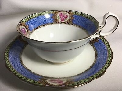 Aynsley Bone China  Cup And Saucer England      White/Blue Border
