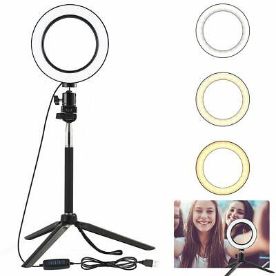 LED SMD Ring Light w/ Stand 5500K Dimmable Lighting Kit for Makeup Phone Camera
