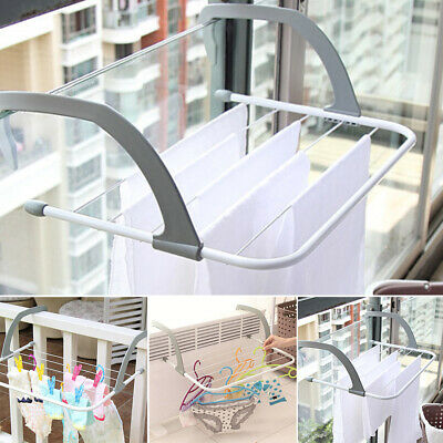Folding Adjustable Balcony Outdoor Pole Drying Rack Airer Clothes Stand Shelf
