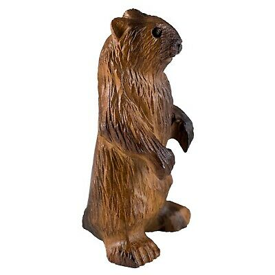 "Unique Hand Carved Ironwood Marmot Groundhog Figurine Wood Carving 4"" High"