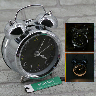 3IN SILVER BLACK NEW Retro Loud Double Bell Mechanical Key Wound Alarm Clock UK