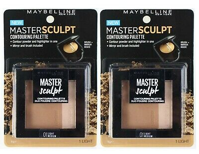 2 x MAYBELLINE 9g MASTER SCULPT CONTOURING PALETTE DUO 01 LIGHT MEDIUM