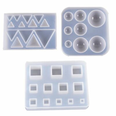 DIY Earrings Pendant Silicone Mould Triangle Round Gemstone UV Resin Epoxy Mold