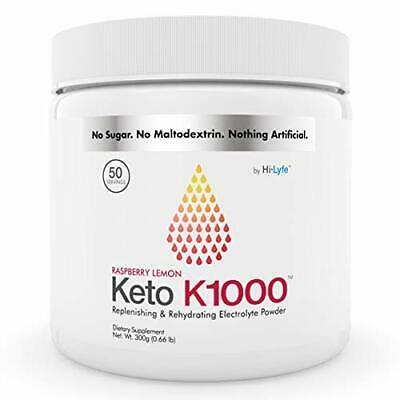 Keto K1000 Electrolyte Powder | Beat Leg Cramps | Raspberry Lemon | 50 Servings