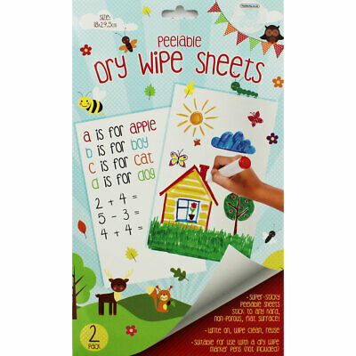 A4 Peelable Dry Wipe Sheets - 2 Pack, Crafts for Kids, Brand New