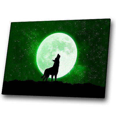 Animal Canvas Print Framed Kitchen Wall Art Picture Green Wolf Moon Abstract