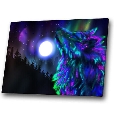 Animal Canvas Print Framed Kitchen Wall Art Picture Wolf Abstract Blue Black