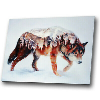 Animal Canvas Print Framed Kitchen Wall Art Picture Wolf Abstract Orange Red