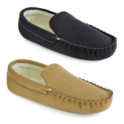 SlumberzzZ Mens Fleece Lined Microsuede Moccasin Slippers