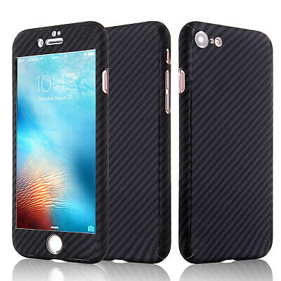 Case For iPhone 7 8 Plus 6s 5s Carbon Full Body Protective Cover Tempered Glass