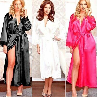 Women Sexy/Sissy Satin Sheer Robe Long Sleeve Lingerie Full Length Kimono
