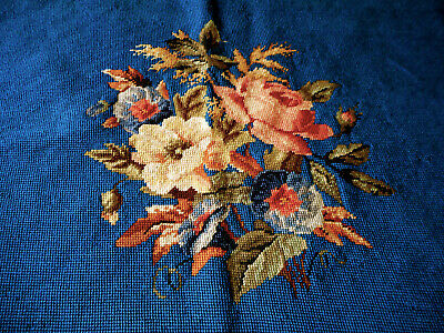 Vintage Roses Floral Needlepoint #1 ~ Beautiful Blue ~Pillow Stool Chair Project