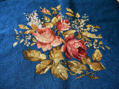 Vintage Roses Floral Needlepoint #2 ~ Beautiful Blue ~Pillow Stool Chair Project