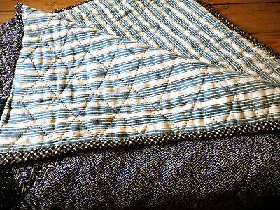 Antique Primitive Indigo Blue Ticking Quilt ~ Lovely Dark Tweed & Calico Fabric