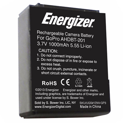 Energizer GoPro AHDBT-201 Replacemnet Li-Ion Camera Battery For Hero 3
