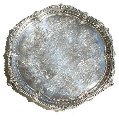 1862 Sheffield; Martin Hall & Co Sterling Silver Salver/Tray.
