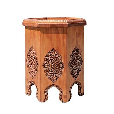 Asian Octagon Floral Relief Carving Side Table Stand cs5184