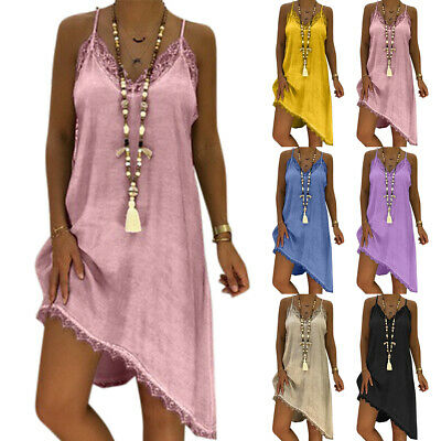 Summer Womens Sleeveless Strappy Lace Long Tops V-neck Baggy Dress Plus Size