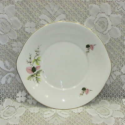"Vintage Royal Grafton Bone China Cake Serving Plate 9.75"" Platter Handles Flower"