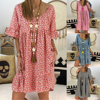 Plus Size Womens Summer Pullover Floral Baggy Tunic Dress Tops Ladies Sundress