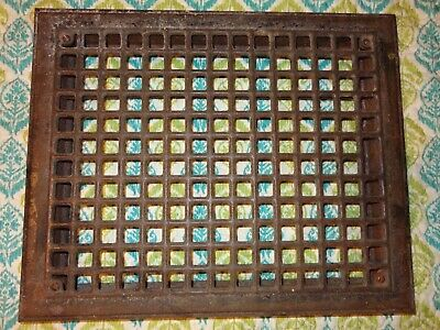 VINTAGE HEAVY METAL HEAT VENT REGISTER GRATE FROM AN OLD CHURCH 12 x 15  14 x 17