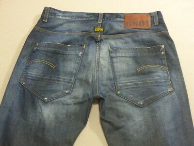 079 Mens Ex-Cond G-Star Raw New Radar Tapered Blue Jeans Sze 34 / 34 L $230 Rrp.