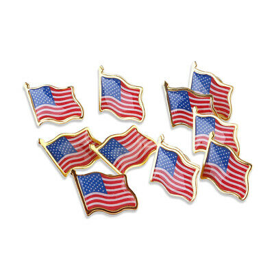 Lot of 10 Pack AMERICAN FLAG LAPEL PINS United States USA Hat Tie Tack Badge Pin