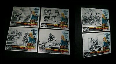 "5 Original CHROME & HOT LEATHER 11""x14"" MOVIE THEATRE LOBBY CARDS WILLIAM SMITH"