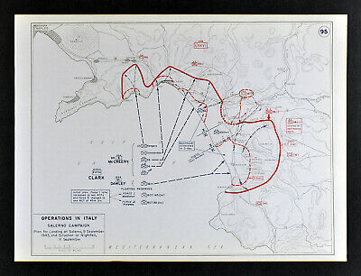 West Point WWII Map Italy Salerno Campaign D-Day Beachhead Landing Naples