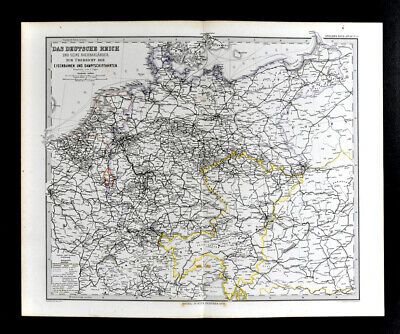 1881 Vogel Map Germany Netherlands France C. Europe Railroad & Steamboat Routes