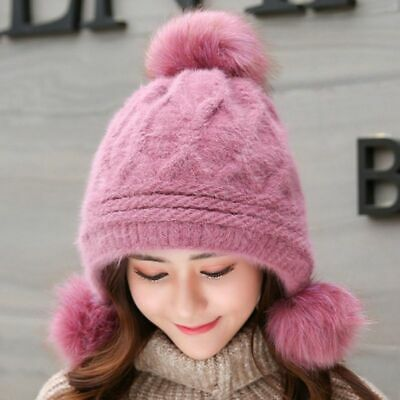 High Quality Beanies Rabbit Fur Knitted Hat Women Pompom Winter Ear Flap Cap New