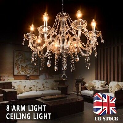Luxury Clear Crystal 8 Arm Light Chandelier Ceiling Light Droplets Pendant Lamp