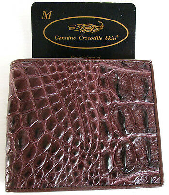 72deb83986bd 100% GENUINE CROCODILE Skin Men's Bifold Backbone Leather Brown ...