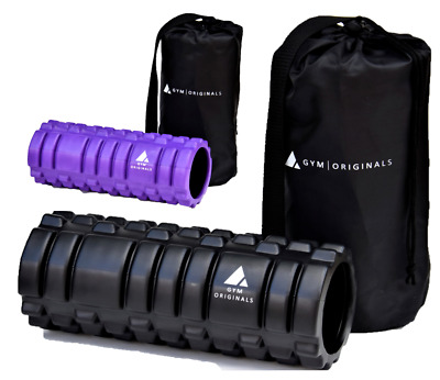 Yoga, Pilates and Sports Exercise Hollow Foam Roller. High Density + Carry Bag