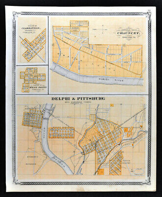 1876 Indiana Map Delphi Pittsburg Chauncey Clarksville West Point Town Plans IN