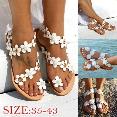 Womens Boho Flower Sandals Ladies Summer Holiday Beach Toe Ring Flat Shoes Size