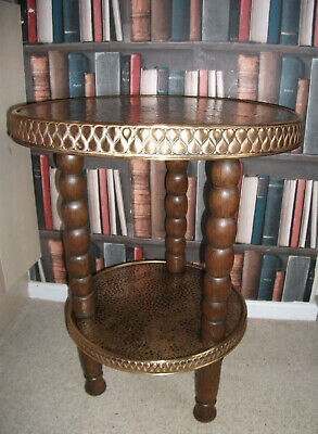 Art Deco Two Tier Occasional / Plant Table *Brass Surfaces* Bobbin Turned Legs*
