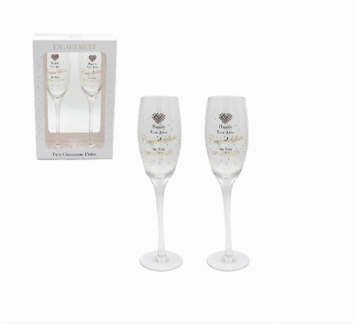 Engagement Diamante Heart Champagne Glasses Presented in a gift box