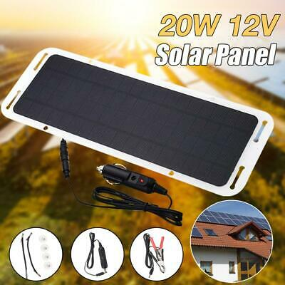 Car Camping 12V Panel Solar Battery Traveling Cycling RV 20W For Charger Outdoor